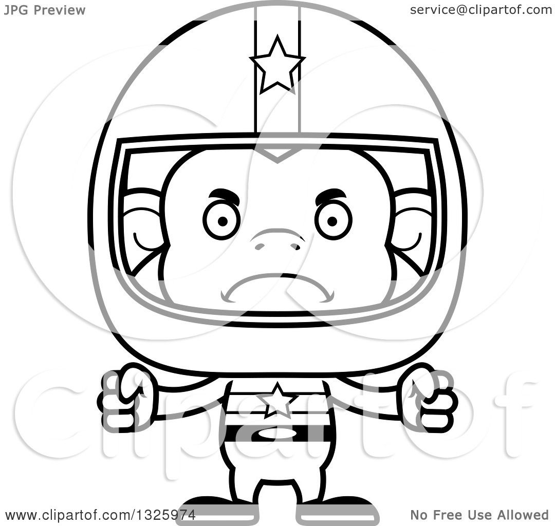 Lineart Clipart Of A Cartoon Black And White Mad Monkey Race Car Driver