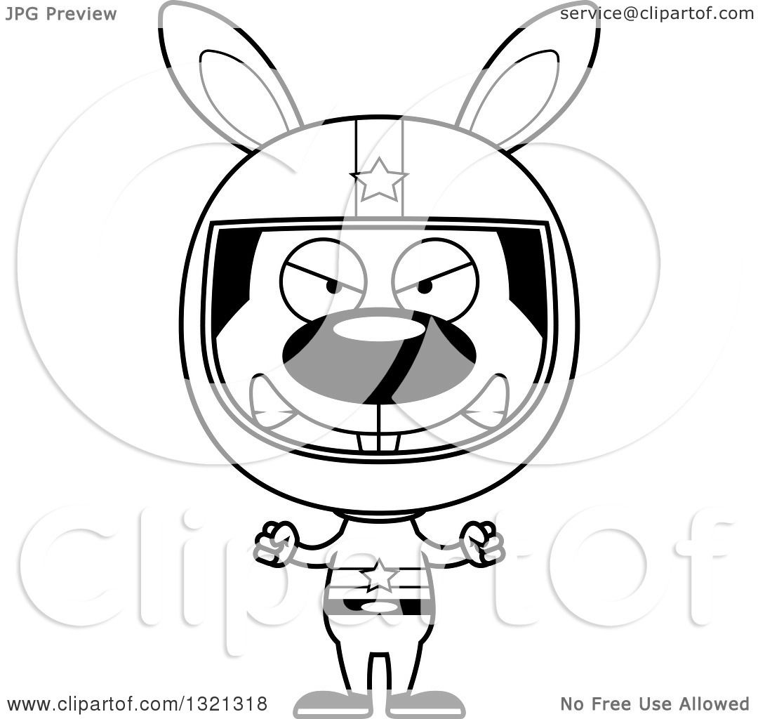 Lineart Clipart Of A Cartoon Black And White Mad Rabbit