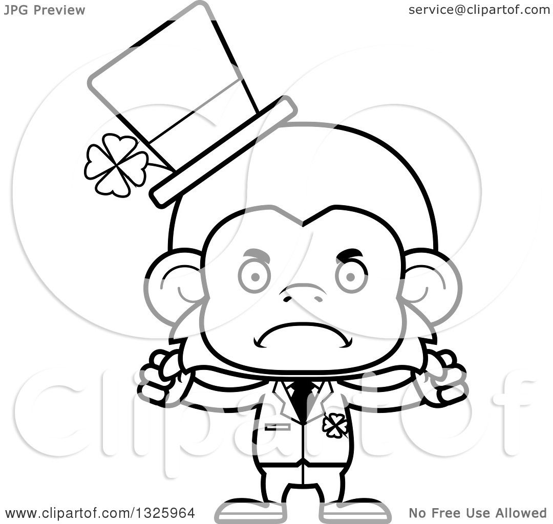Lineart Clipart Of A Cartoon Black And White Mad St Patricks Day Monkey