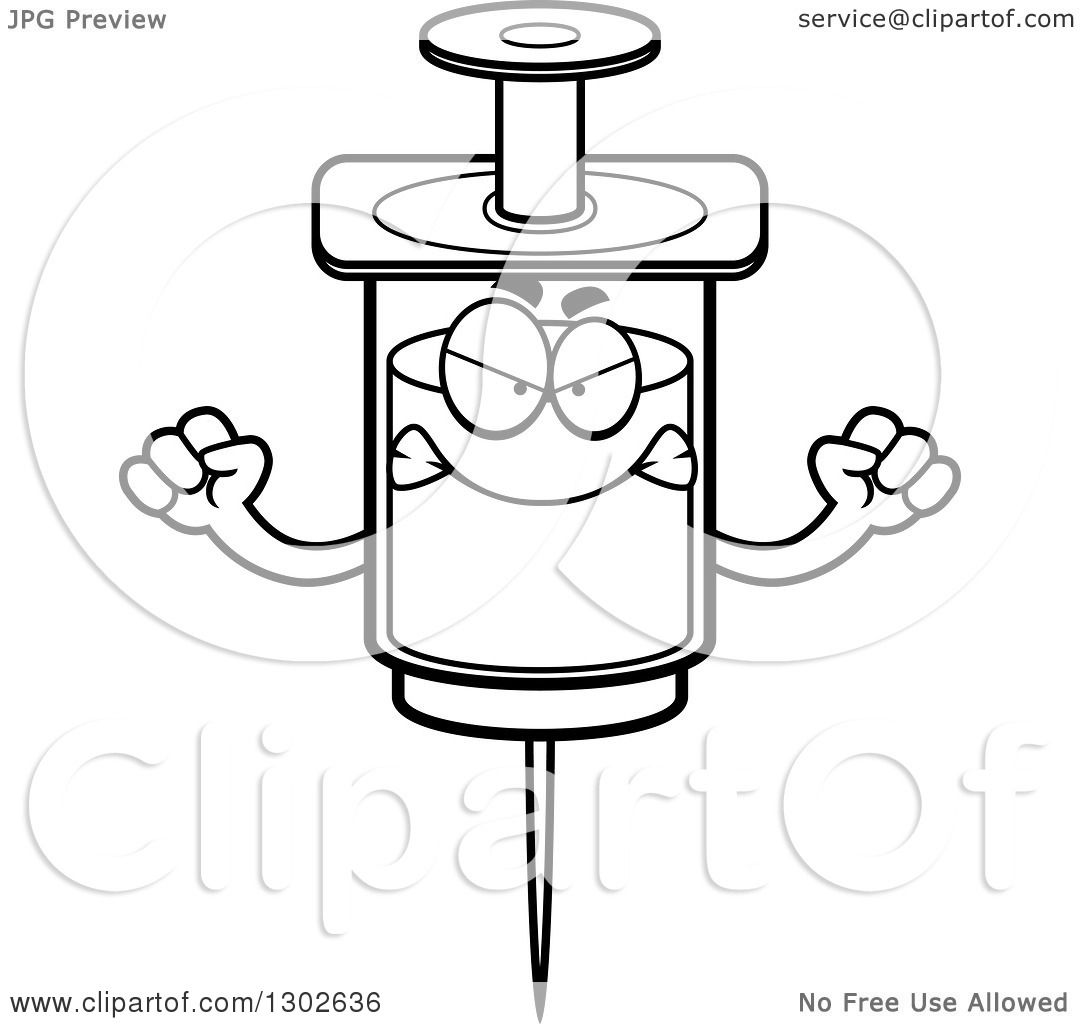 Lineart Clipart Of A Cartoon Black And White Mad Vaccine