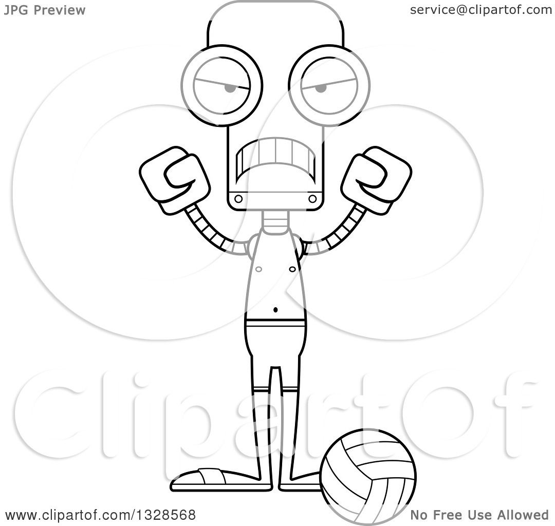 Lineart Clipart Of A Cartoon Black And White Skinny Mad