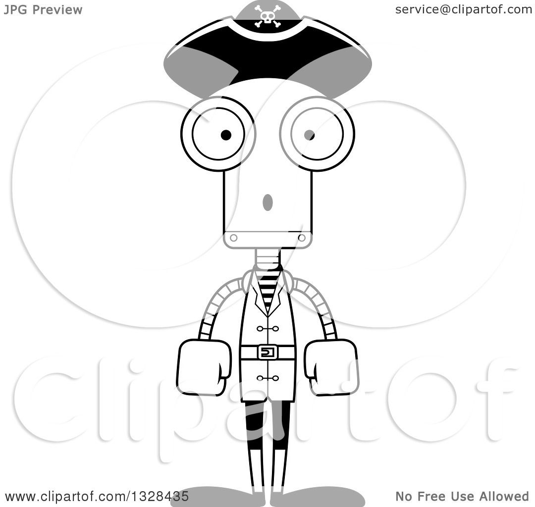 Lineart Clipart Of A Cartoon Black And White Skinny