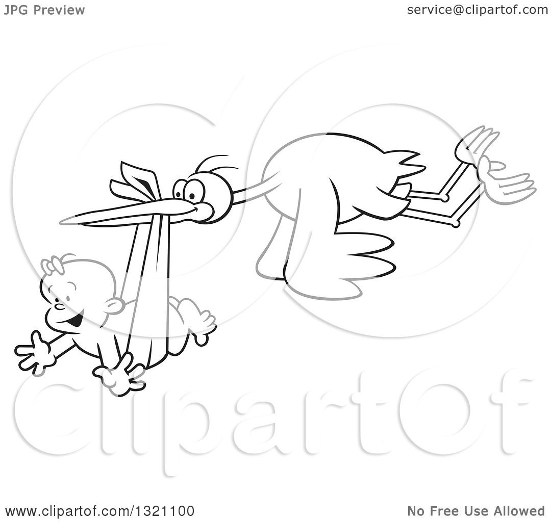 Lineart Clipart Of A Cartoon Black And White Stork Bird Flying A Happy Baby Girl In A Bundle
