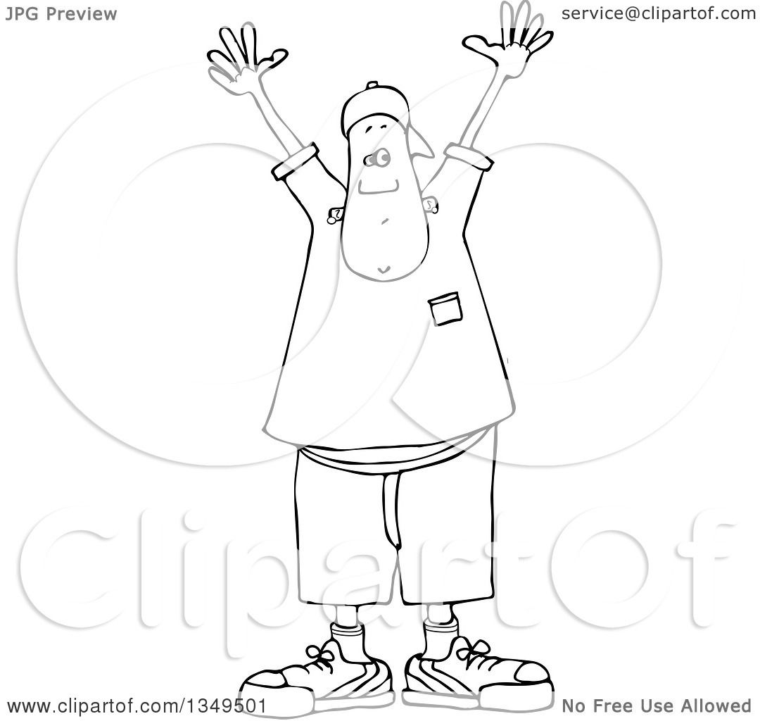 Lineart Clipart Of A Cartoon Black And White Young Man
