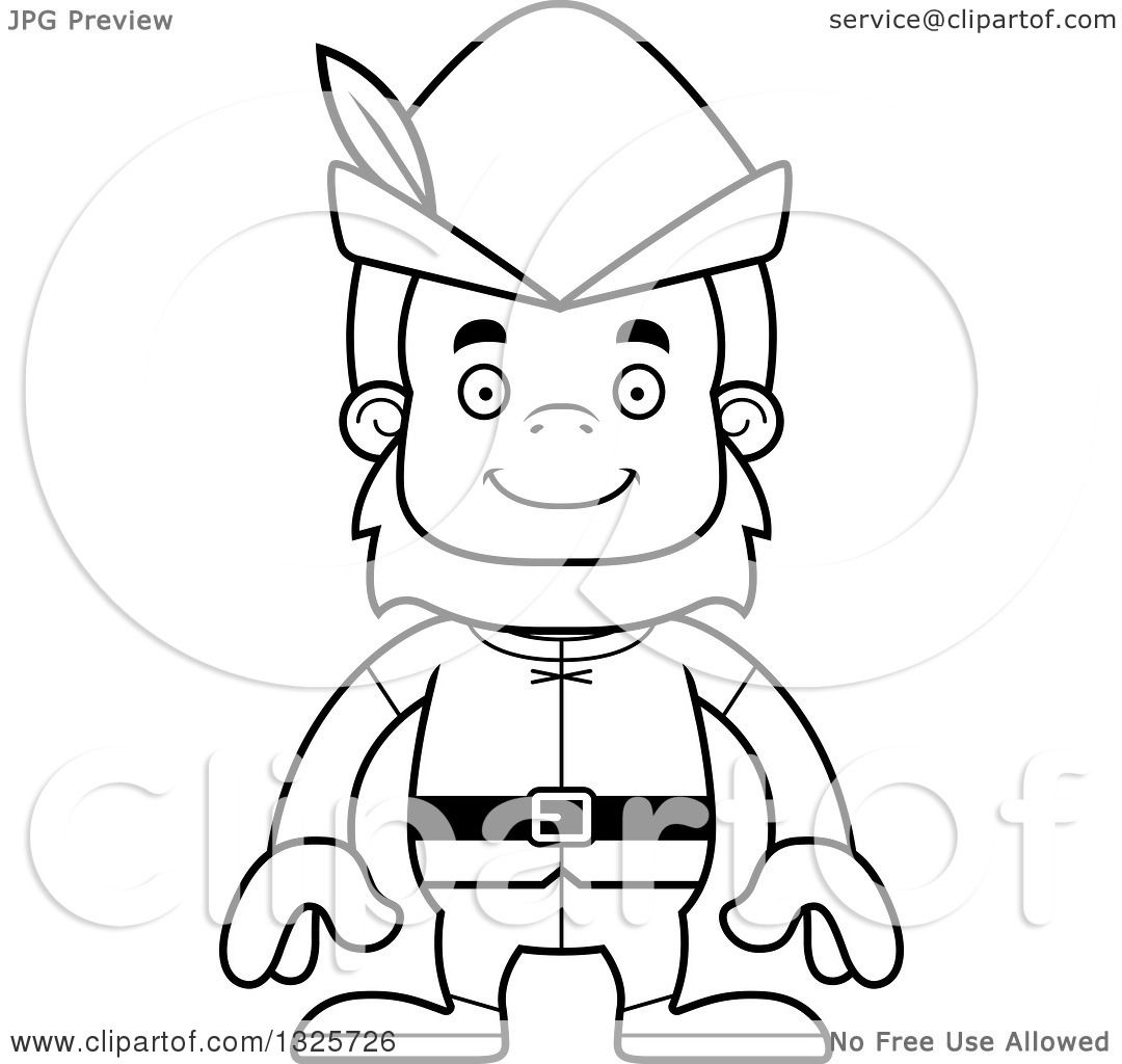 Lineart Clipart Of A Cartoon Blcak And White Happy Robin
