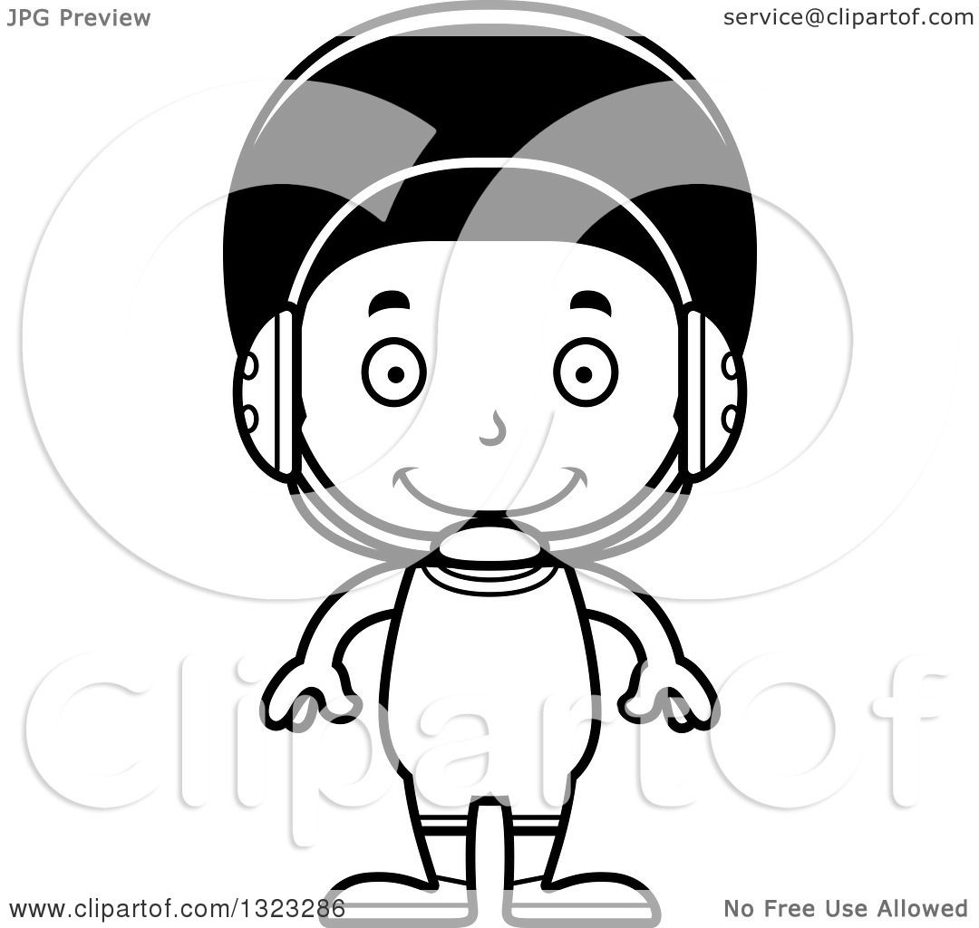 Lineart Clipart Of A Cartoon Happy Black Boy Wrestler