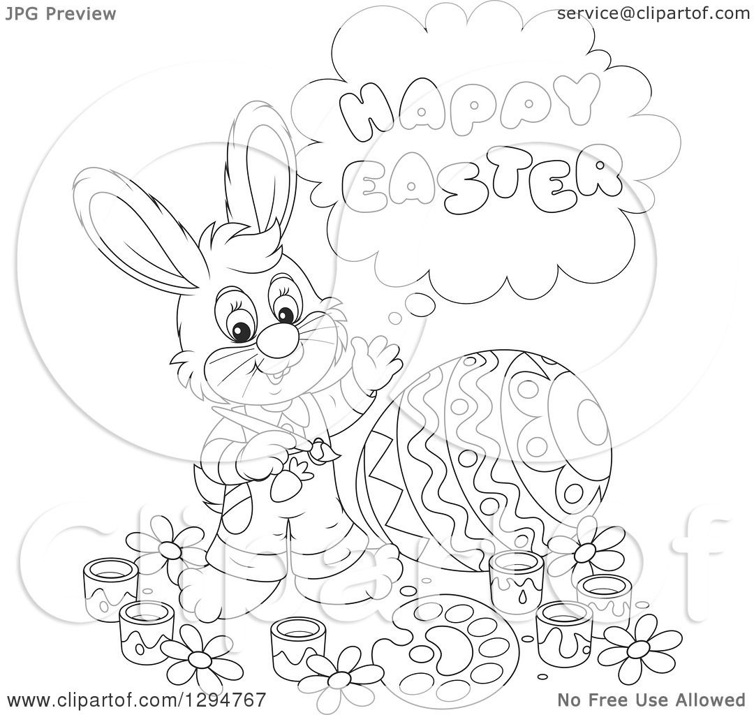 Lineart Clipart Of A Happy Black And White Male Bunny