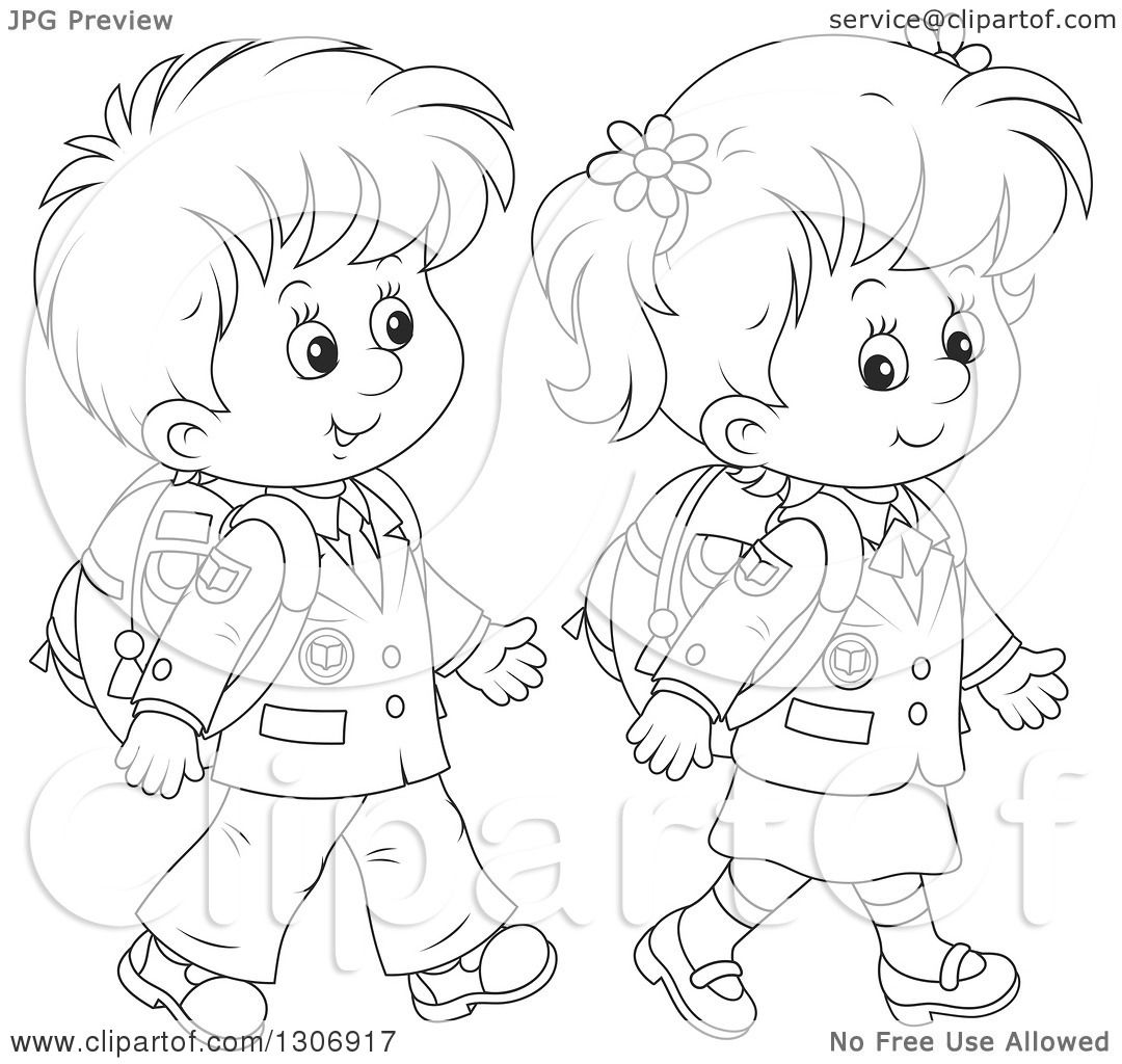 Lineart Clipart Of Cartoon Black And White Happy School