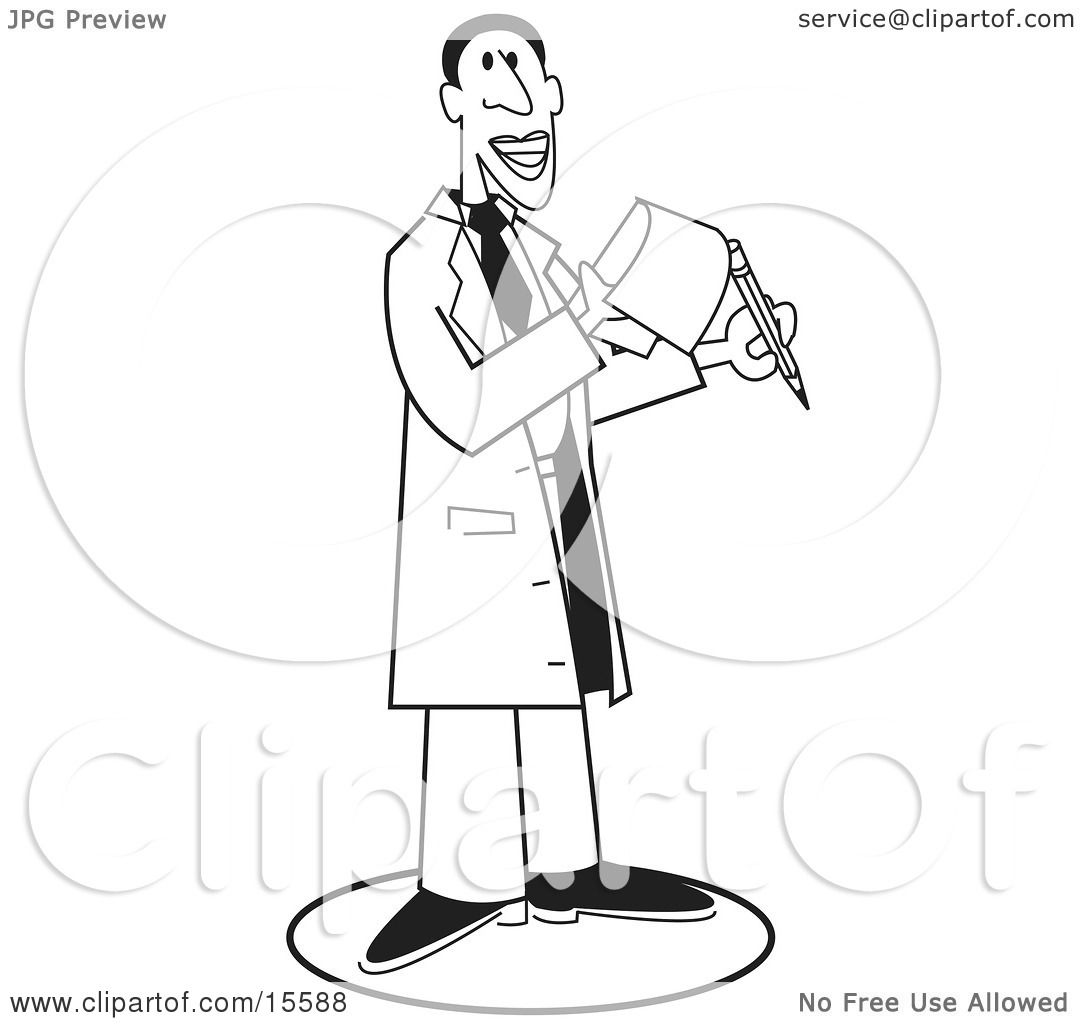 Male Doctor Holding A Pencil And A Notepad Black Outline