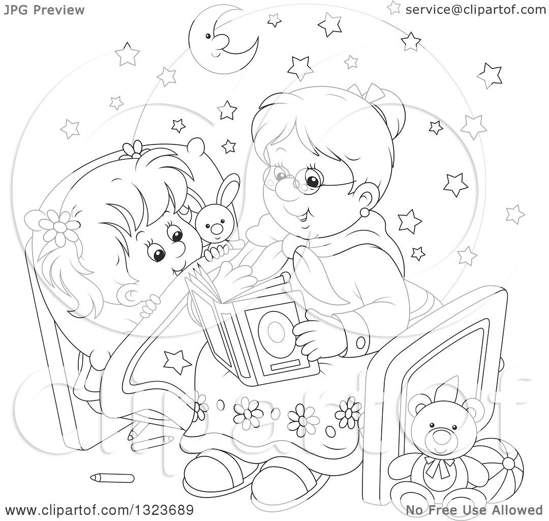 Outline Clipart Of A Cartoon Black And White Granny