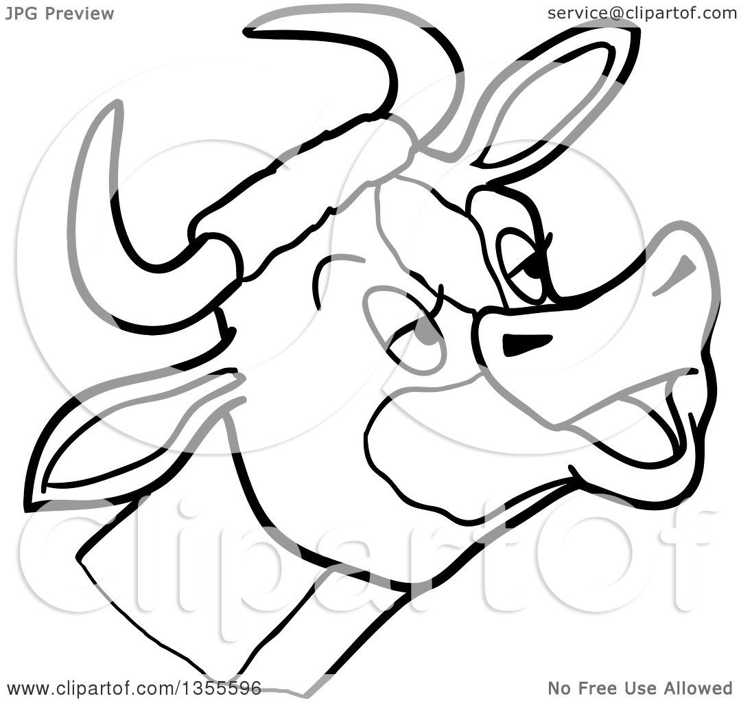 Outline Clipart Of A Cartoon Black And White Mooing Cow