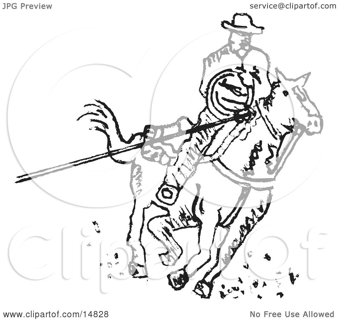 Roper Cowboy On A Horse Using A Lasso To Catch A Cow Or
