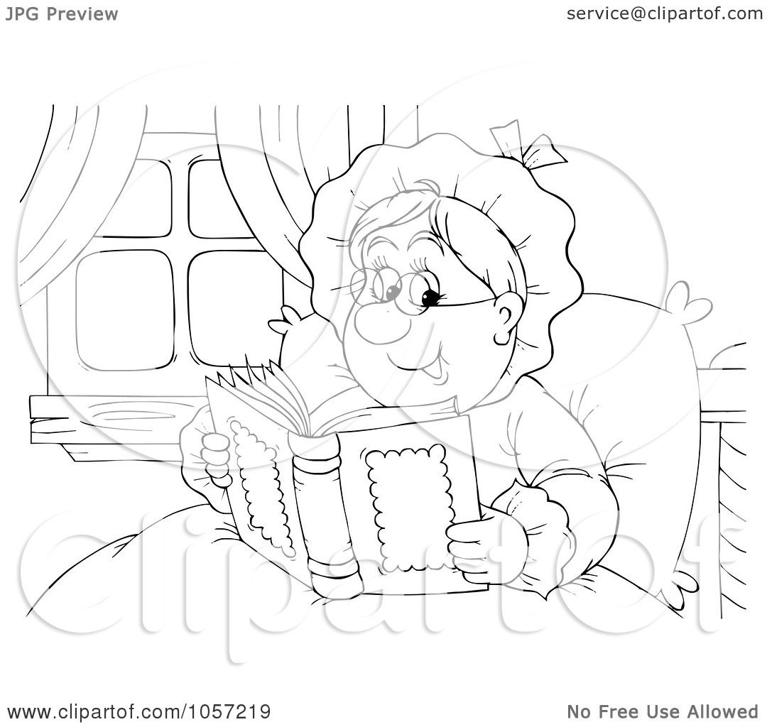 Royalty Free Clip Art Illustration Of A Coloring Page Outline Of A Granny Reading By Alex