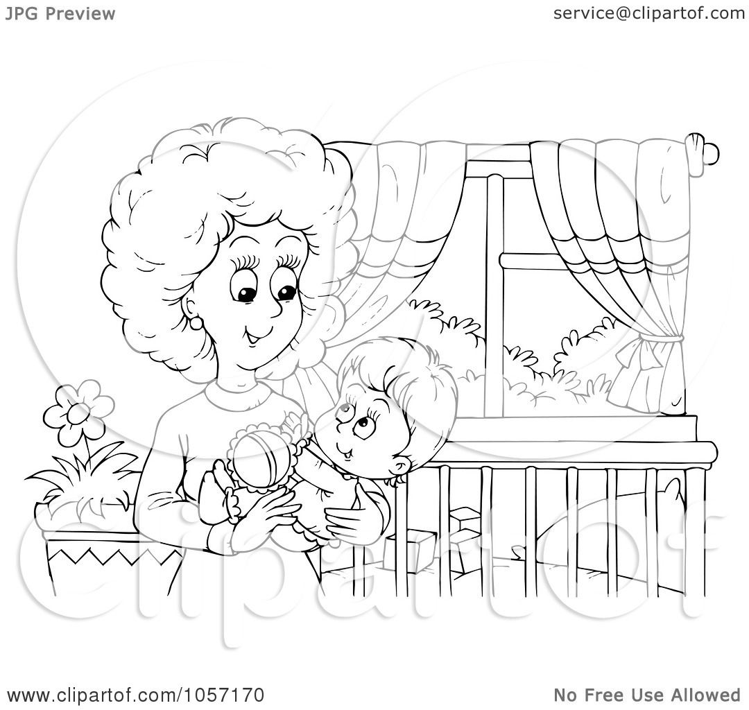 Royalty Free Clip Art Illustration Of A Coloring Page Outline Of A Mom Holding Her Baby In A