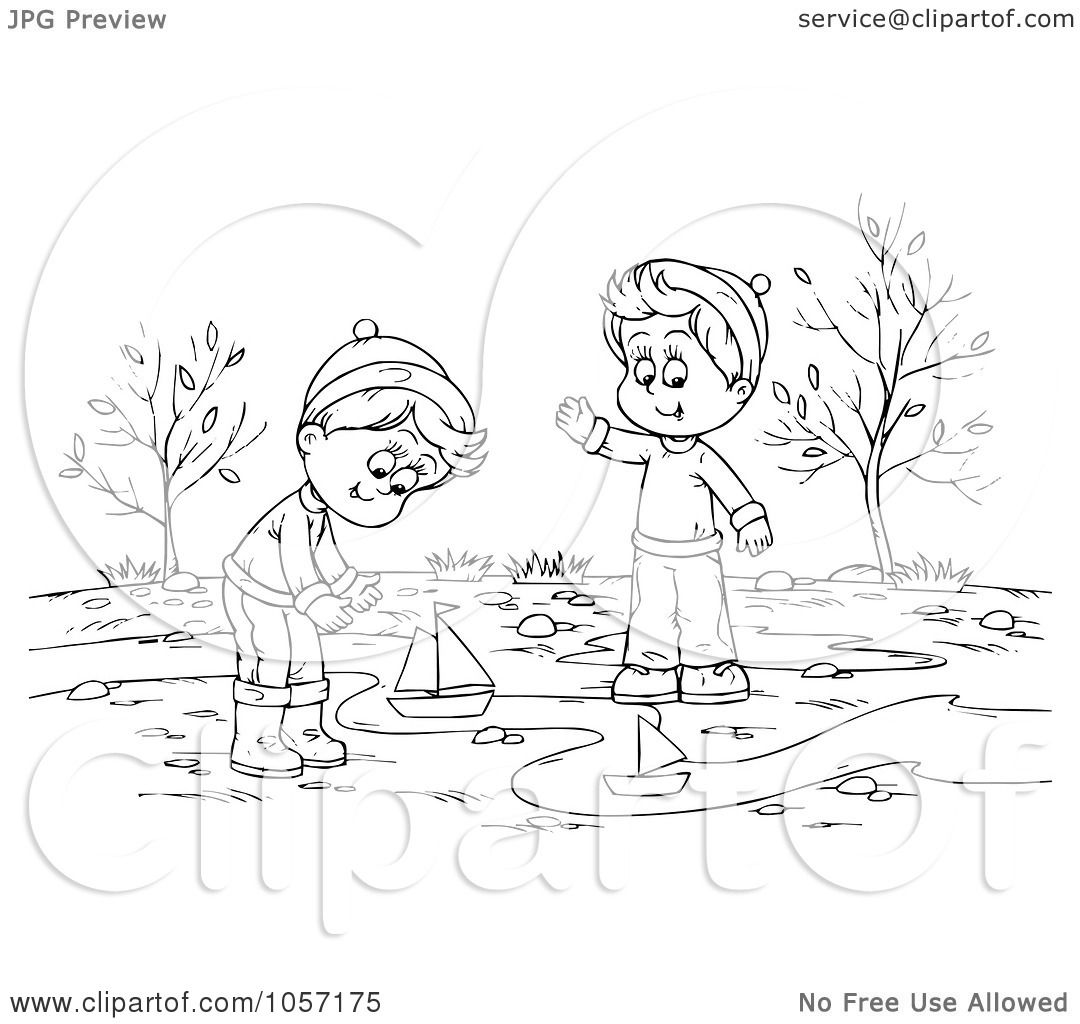Royalty Free Clip Art Illustration Of A Coloring Page Outline Of Boys Playing With Boats In A