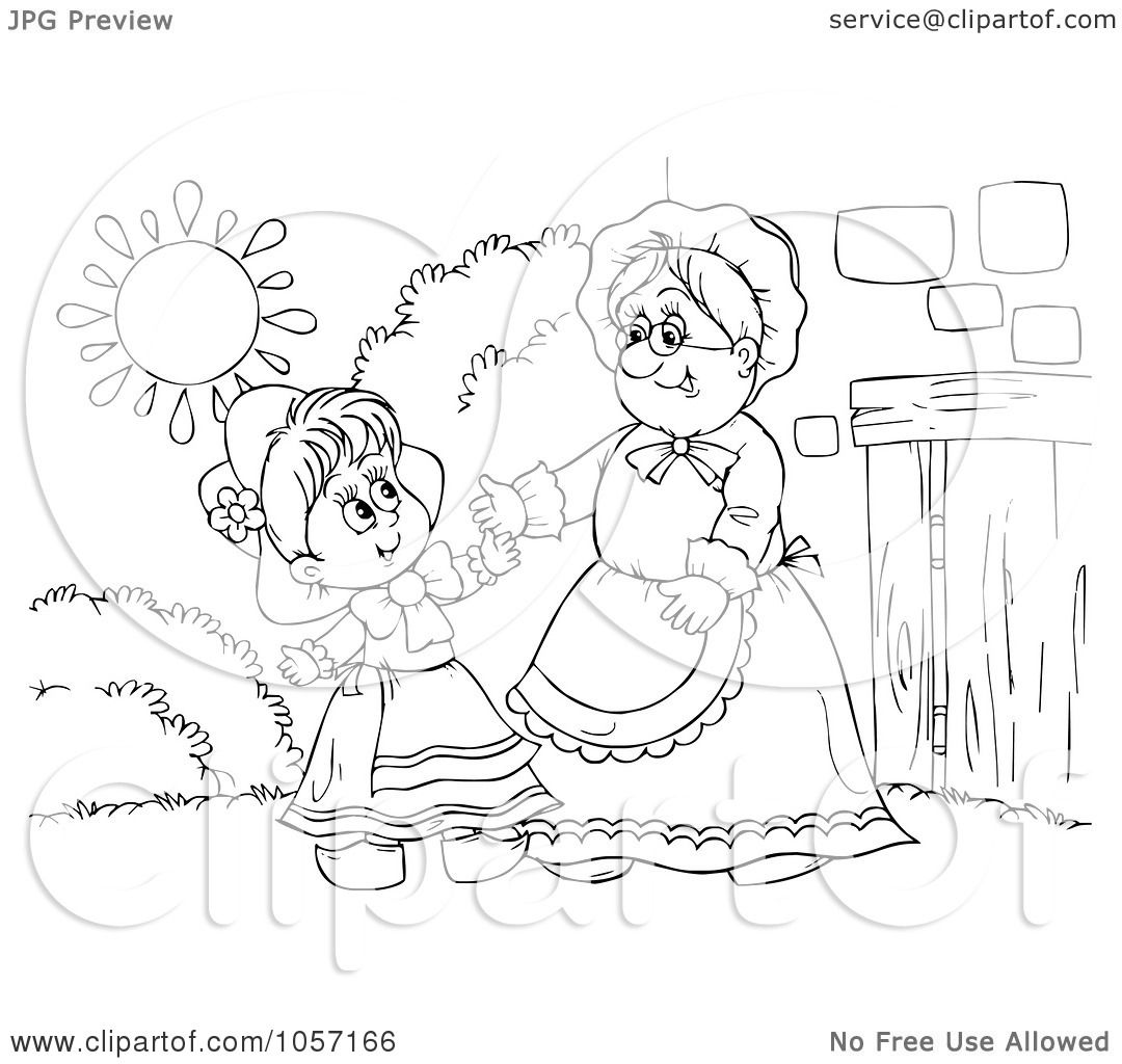 Royalty Free Clip Art Illustration Of A Coloring Page Outline Of Red Riding Hood And Granny By