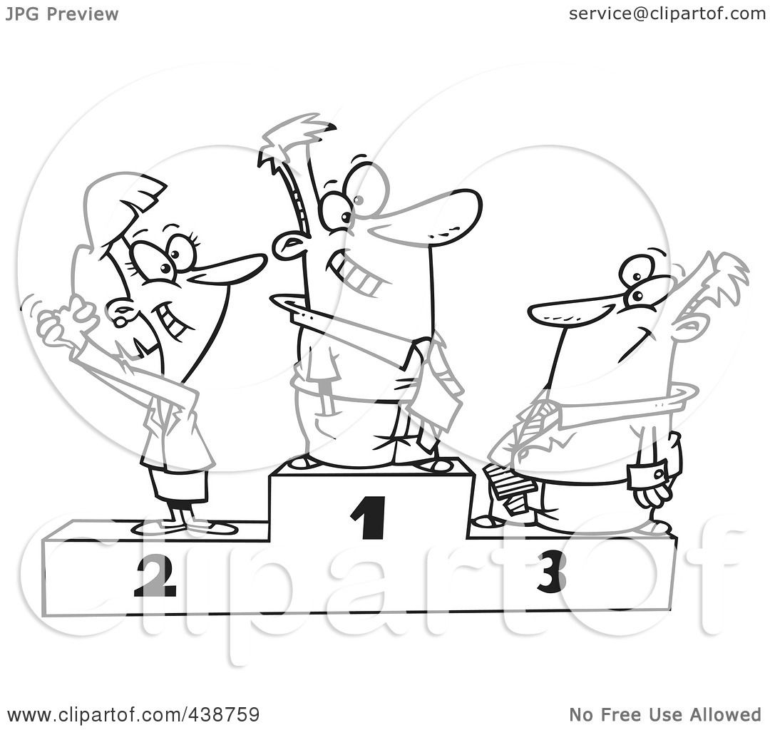 Royalty Free Rf Clip Art Illustration Of A Cartoon Black And White Outline Design Of A Podium
