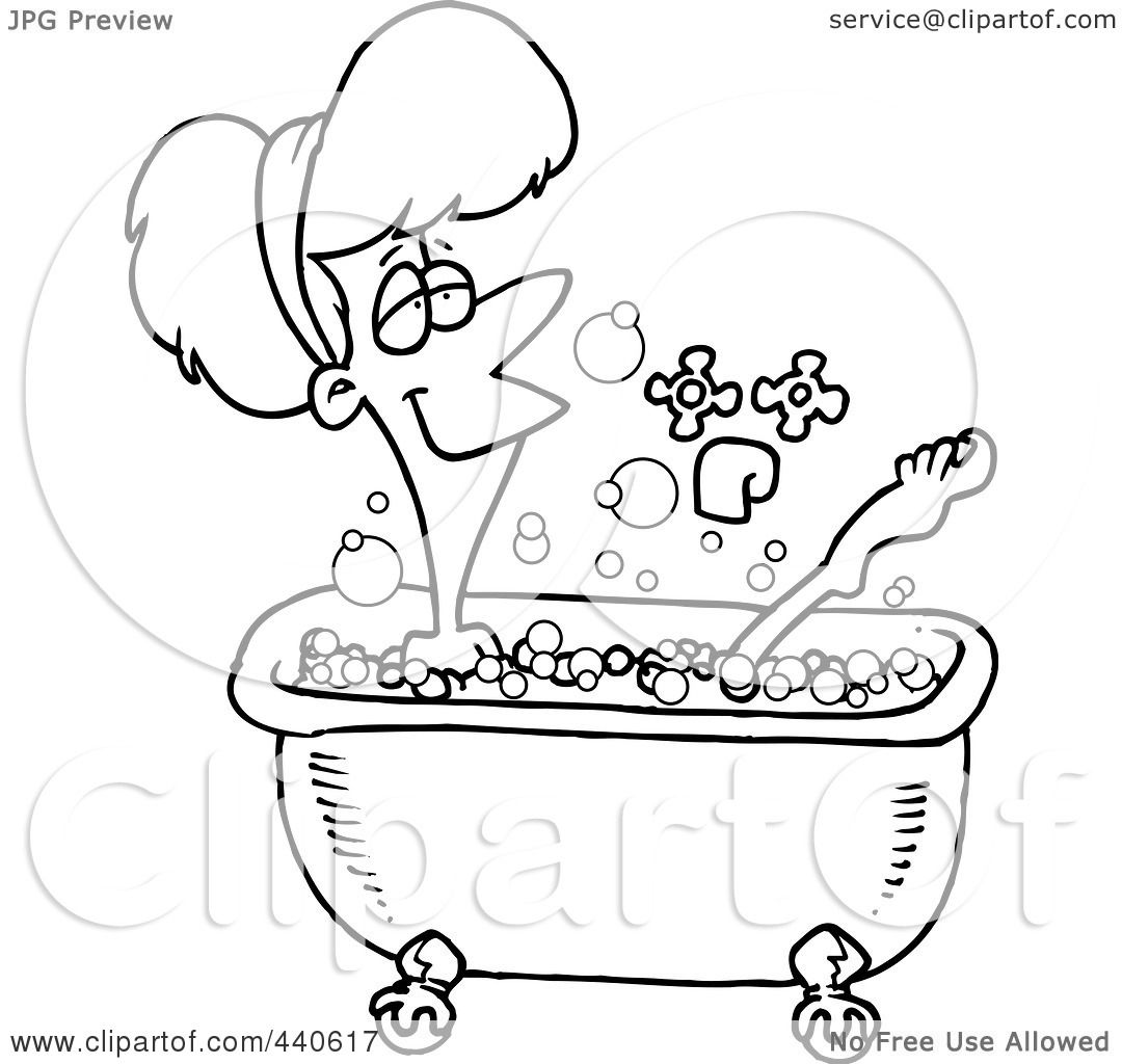 Royalty Free Rf Clip Art Illustration Of A Cartoon Black And White Outline Design Of A Relaxed
