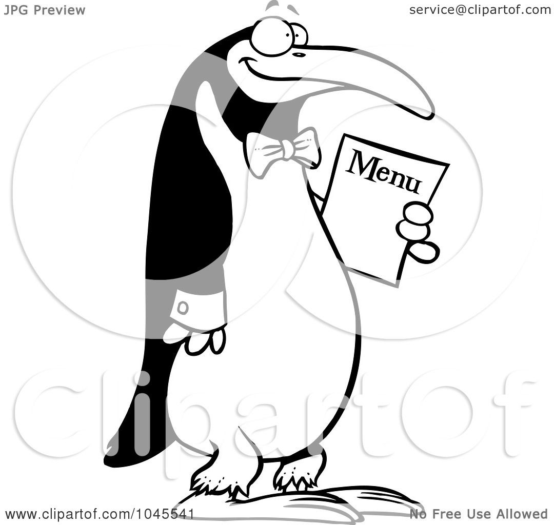 Royalty Free Rf Clip Art Illustration Of A Cartoon Black And White Outline Design Of A Waiter