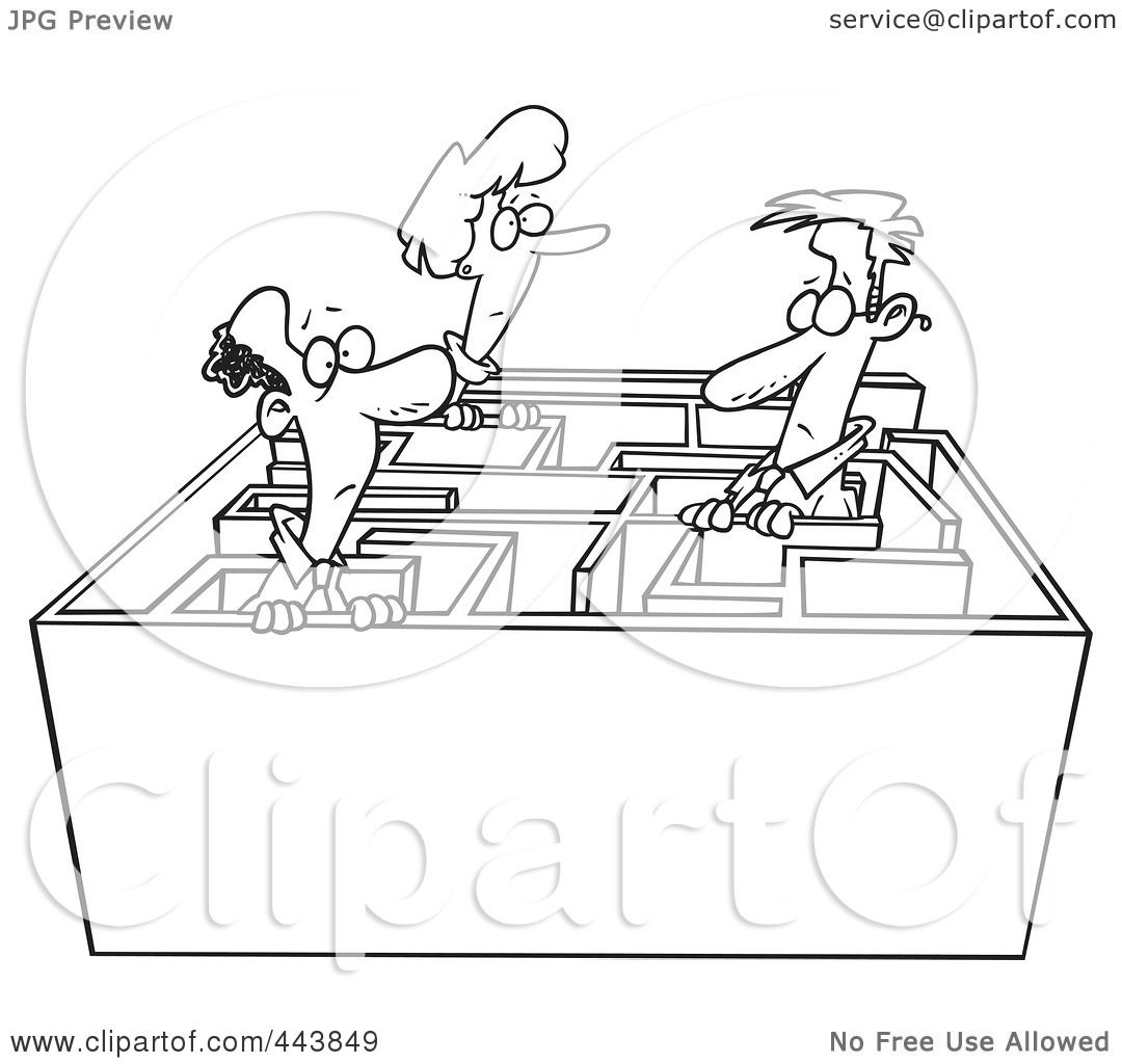 Royalty Free Rf Clip Art Illustration Of A Cartoon Black And White Outline Design Of Business