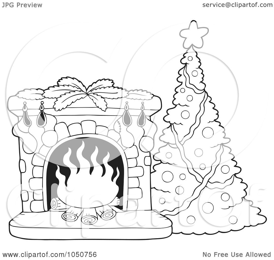 Royalty Free Rf Clip Art Illustration Of A Coloring Page Of A Christmas Tree And Fire Place By