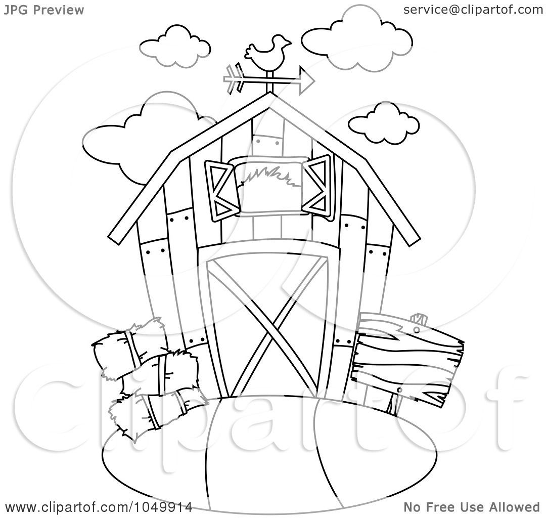 Royalty Free Rf Clip Art Illustration Of A Coloring Page Outline Of A Barn By Bnp Design