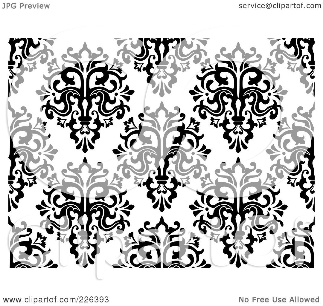 Royalty Free Rf Clipart Illustration Of A Black And White Seamless Damask Background Pattern