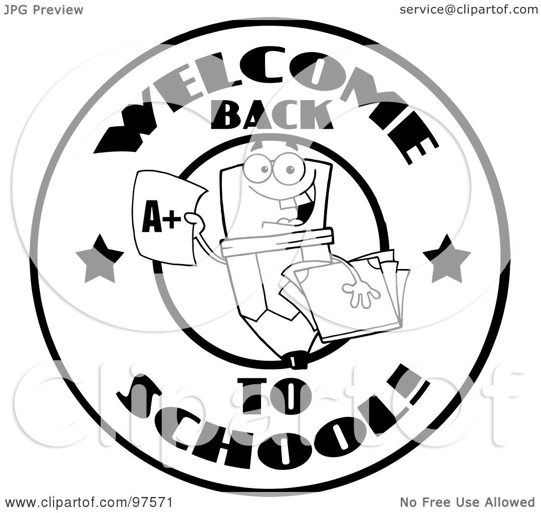 Royalty Free Rf Clipart Illustration Of A Black And White Welcome Back To School Pencil Circle