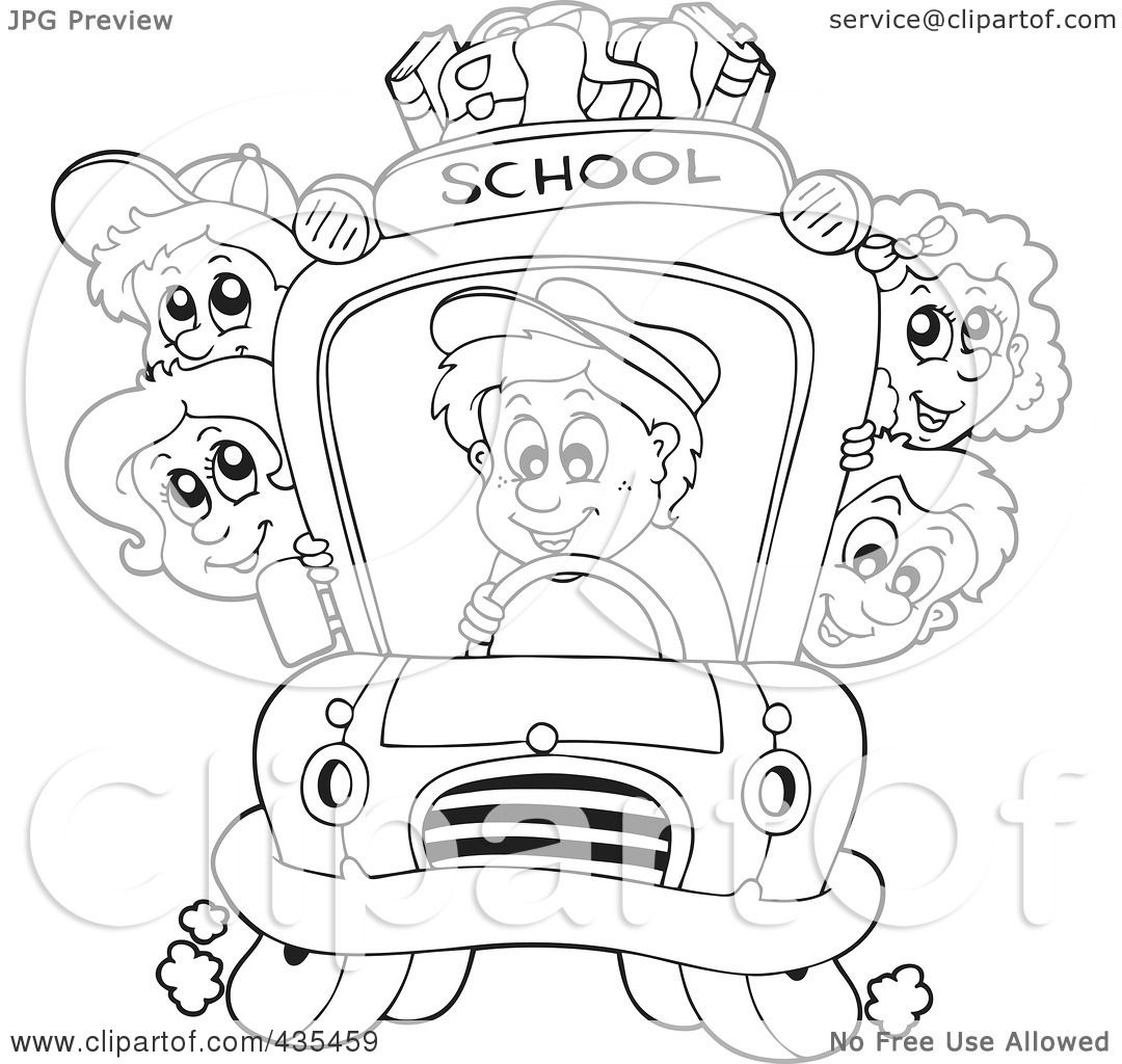Royalty Free Rf Clipart Illustration Of A Coloring Page Outline Of A Bus Driver Driving