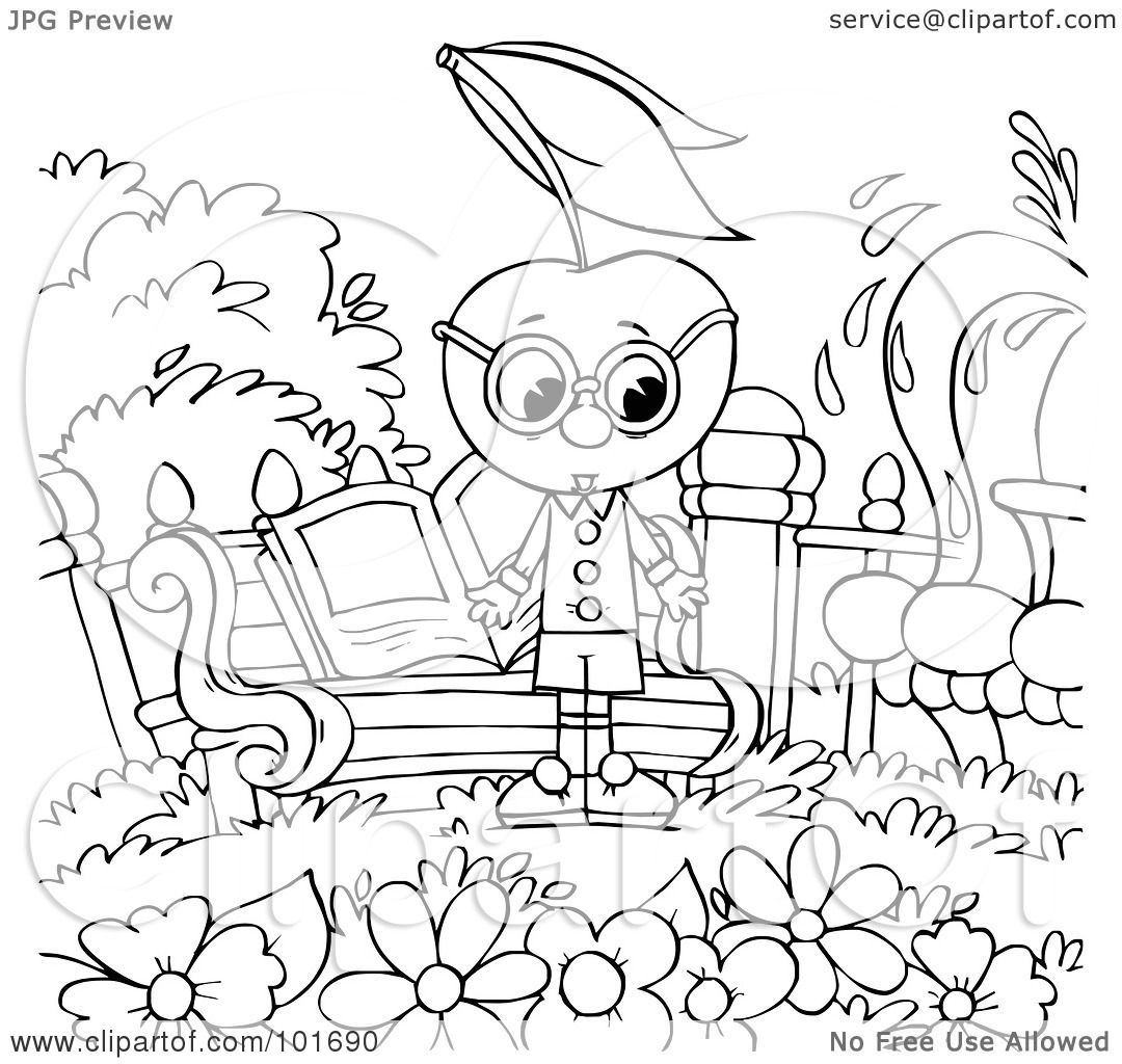 Royalty Free Rf Clipart Illustration Of A Coloring Page Outline Of A Cherry Head By A Garden