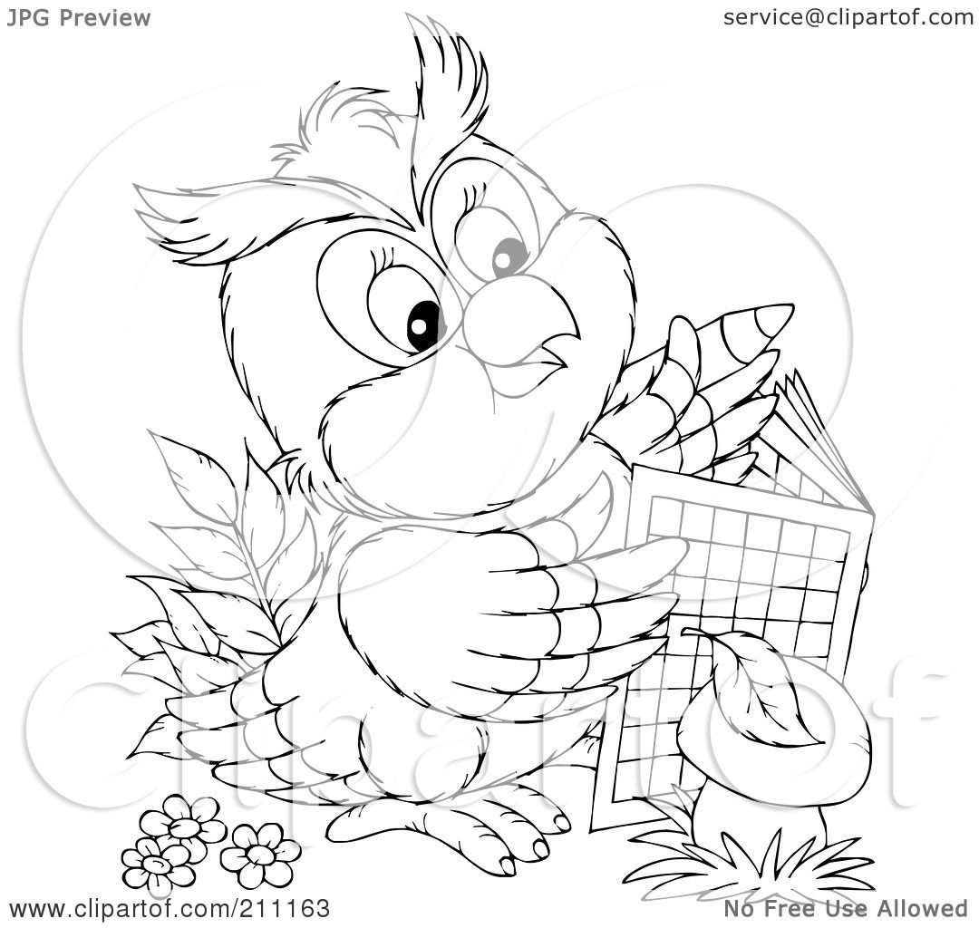Royalty Free Rf Clipart Illustration Of A Coloring Page Outline Of A Cute Owl Using An