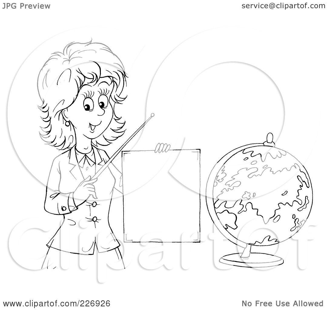 Royalty Free Rf Clipart Illustration Of A Coloring Page Outline Of A Female Teacher Discussing