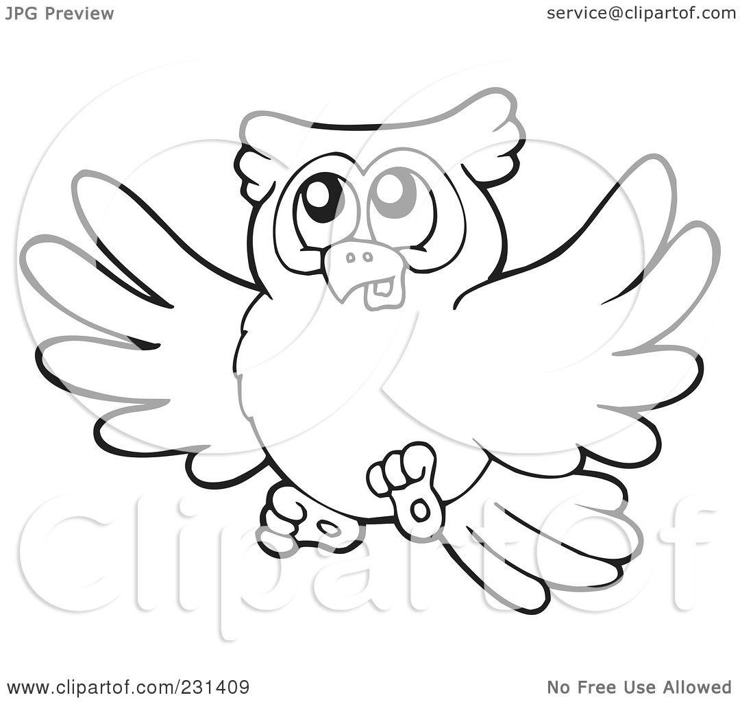 Flying Owl Outline