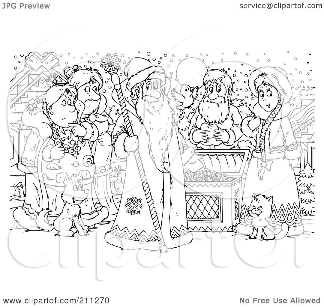 Royalty Free Rf Clipart Illustration Of A Coloring Page Outline Of A Group Of People By A