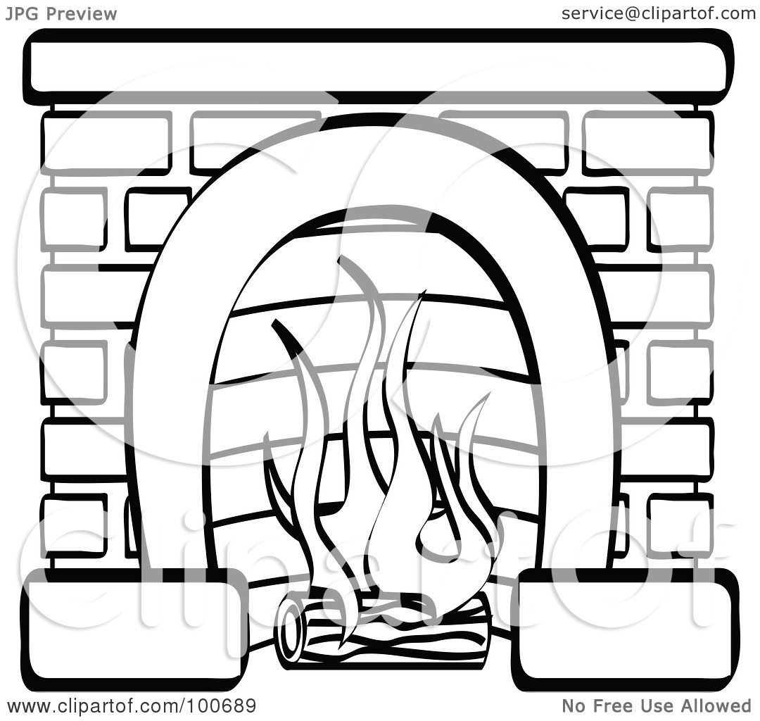 Royalty Free Rf Clipart Illustration Of A Coloring Page Outline Of A Log Burning In A Brick