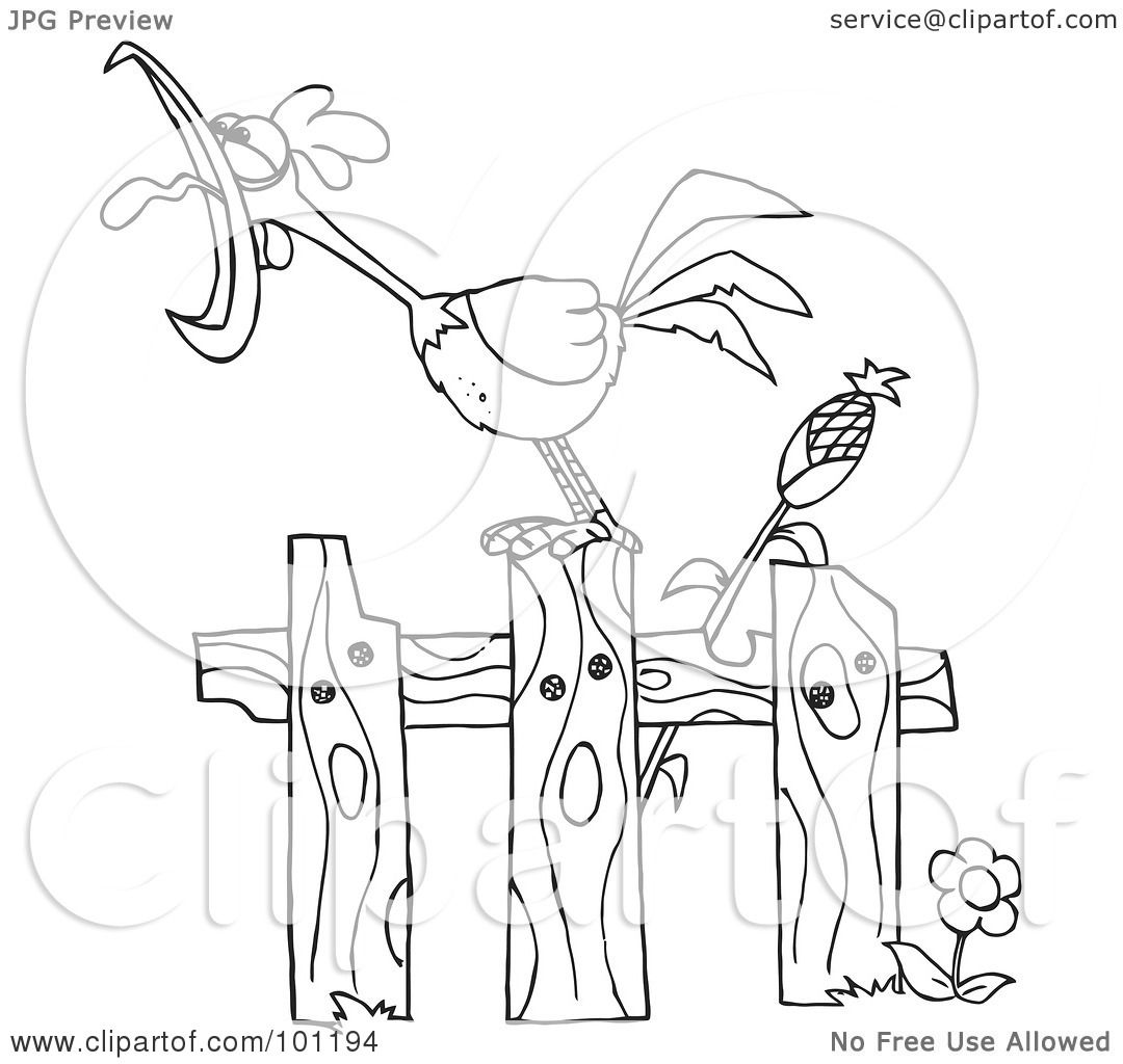Royalty Free Rf Clipart Illustration Of A Coloring Page Outline Of A Loud Rooster Crowing On A