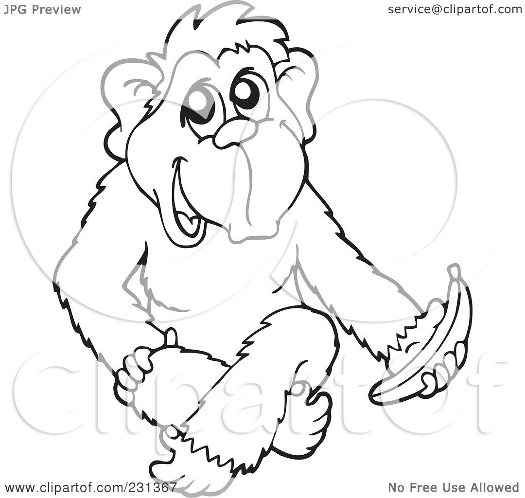 Royalty Free Rf Clipart Illustration Of A Coloring Page Outline Of A Monkey With A Banana By