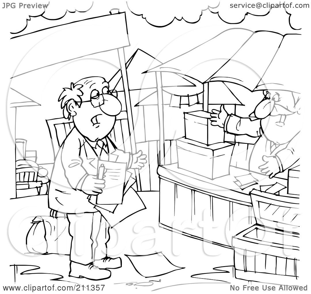 Royalty Free Rf Clipart Illustration Of A Coloring Page Outline Of A Salesman Approaching A