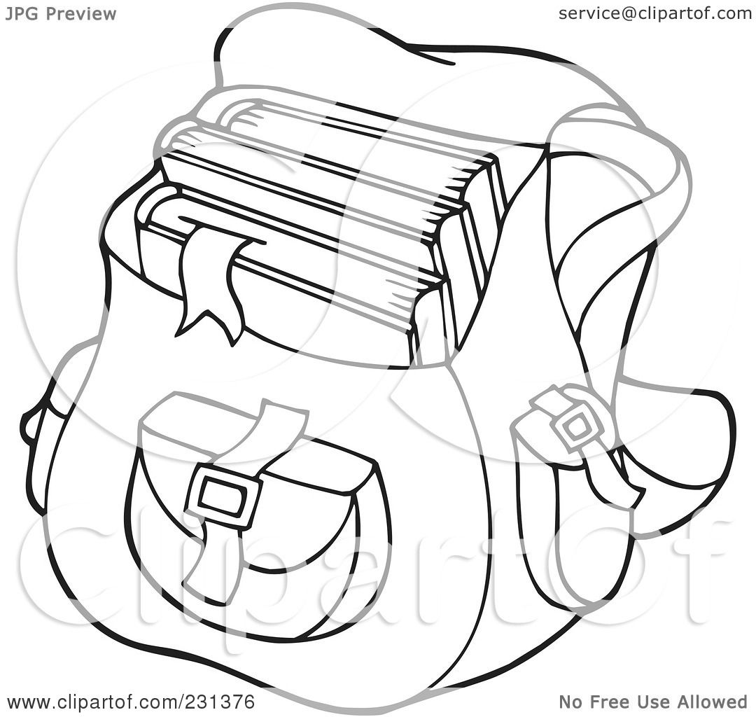 Backpack Coloring Page Sketch Coloring Page
