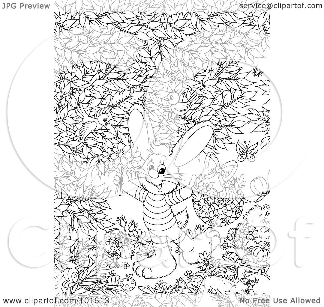 Royalty Free Rf Clipart Illustration Of A Coloring Page Outline Of An Easter Bunny Holding