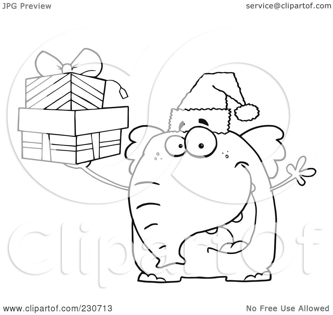 Royalty Free Rf Clipart Illustration Of A Coloring Page Outline Of An Elephant Wearing A Santa