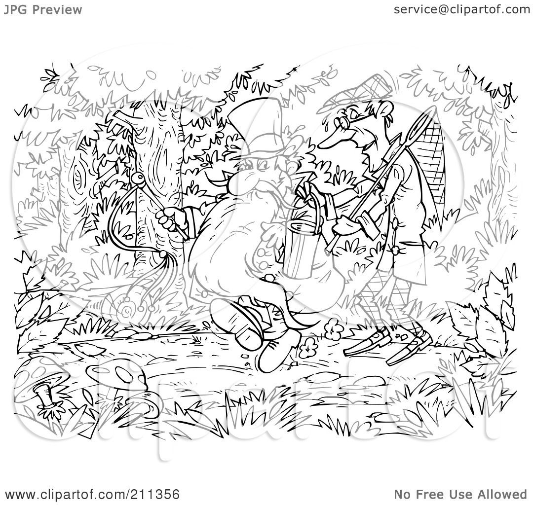 Royalty Free Rf Clipart Illustration Of A Coloring Page Outline Of Bad Men Walking In The
