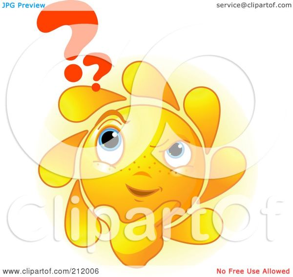 Royalty-Free (RF) Clipart Illustration of a Confused Sun ...