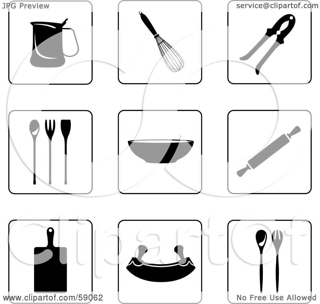 Royalty Free Rf Clipart Illustration Of A Digital Collage Of Black And White Kitchen Icon
