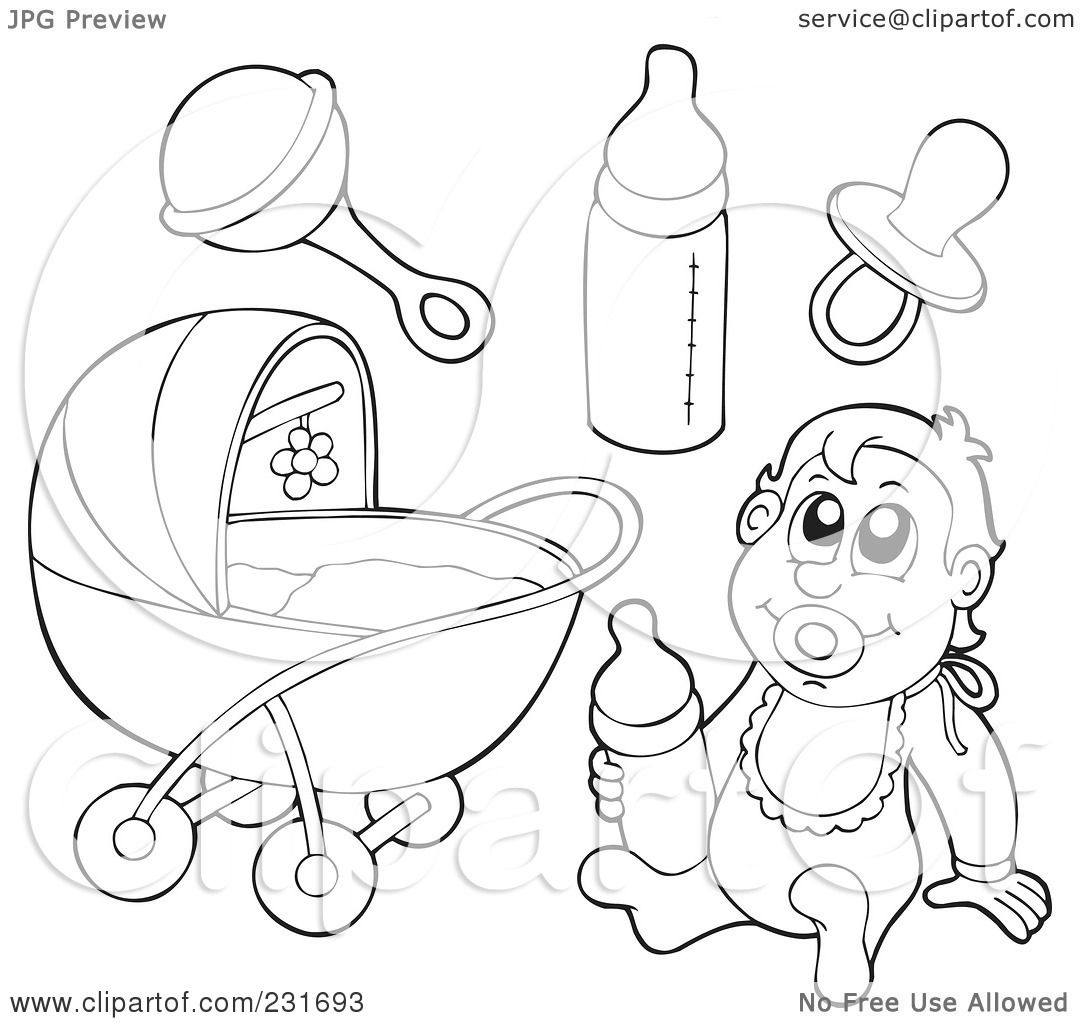 Royalty Free Rf Clipart Illustration Of A Digital Collage Of Outlined Baby Stuff By Visekart