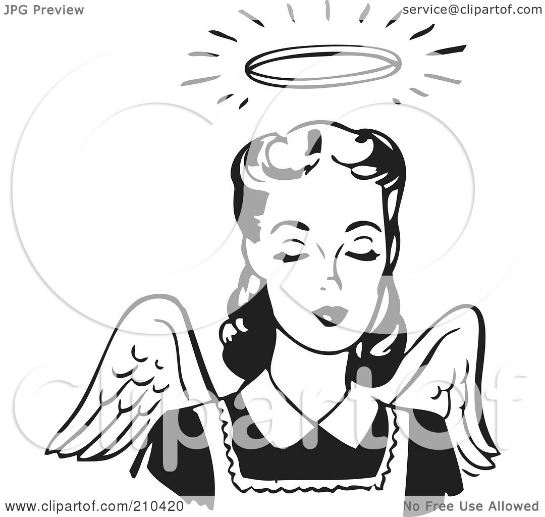 Royalty Free Rf Clipart Illustration Of A Retro Black And White Angel Woman With Wings And A