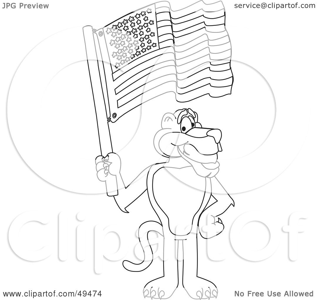 Royalty Free Rf Clipart Illustration Of An Outline Of A Panther Character Mascot Waving An