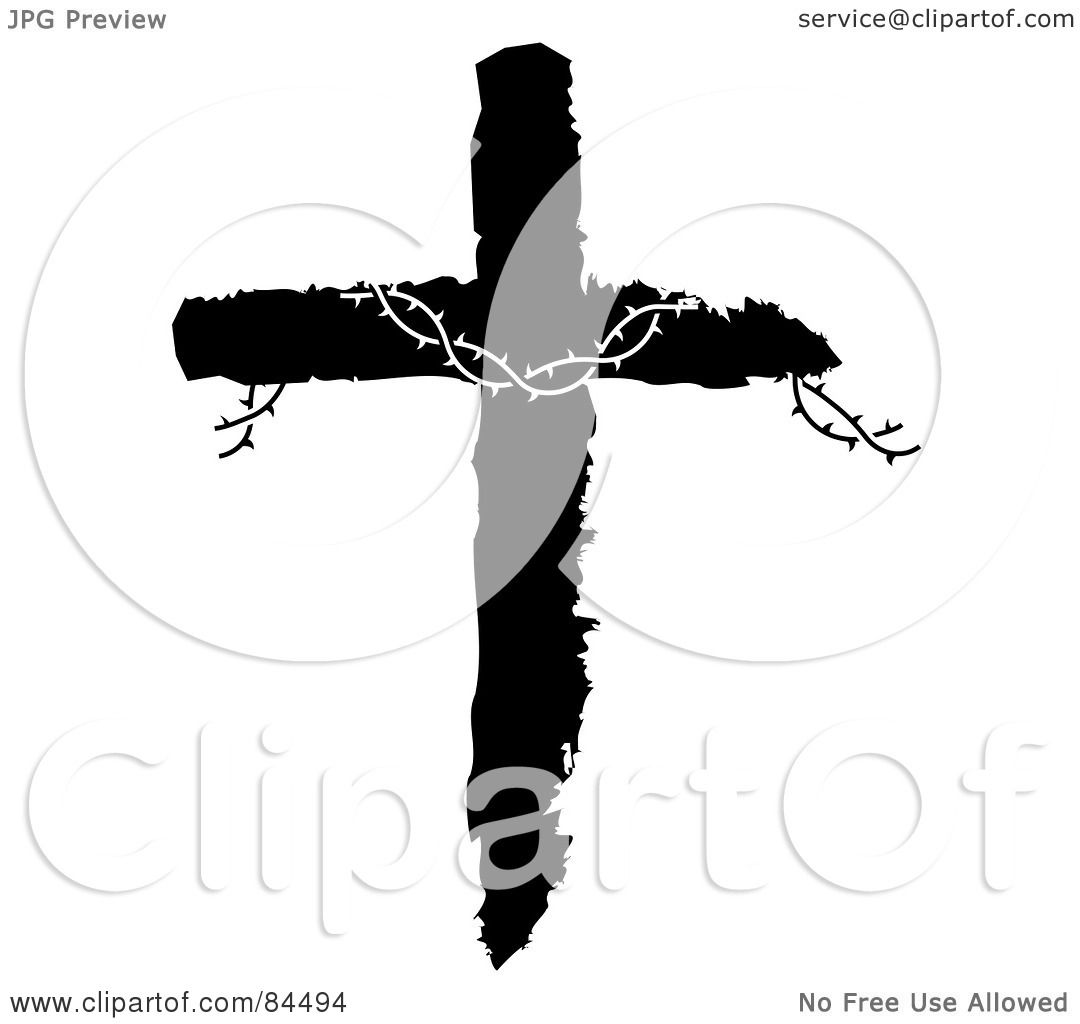 Royalty Free Rf Clipart Illustration Of Barbed Wire On A Black And White Cross By Pams Clipart