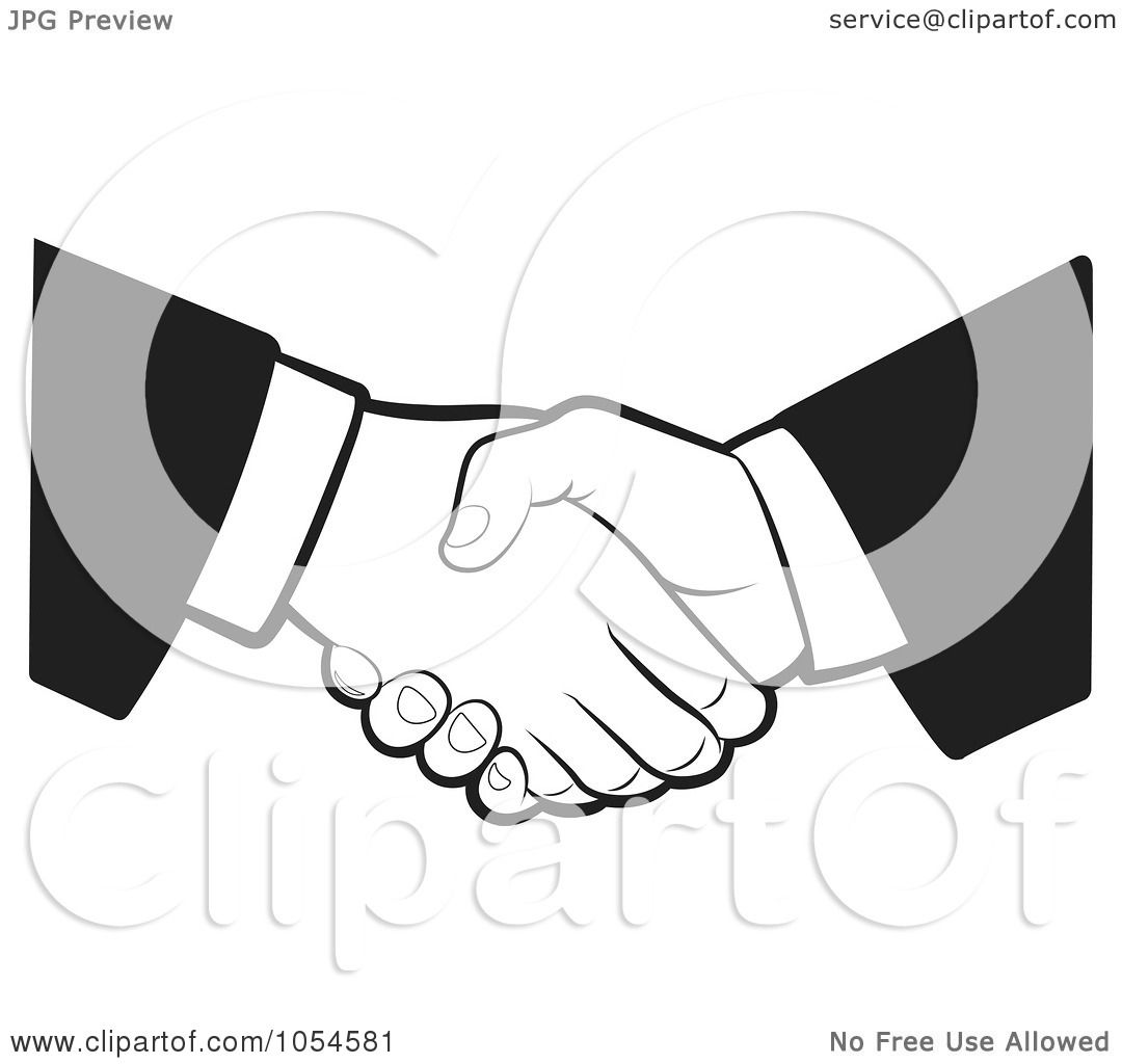 Royalty Free Vector Clip Art Illustration Of A Black And White Business Handshake By Lal Perera