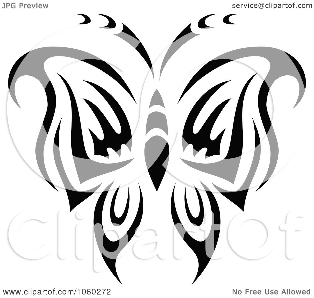 Royalty Free Vector Clip Art Illustration Of A Black And White Butterfly Logo
